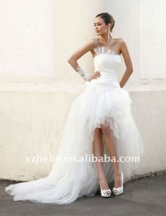 show off the legs you worked so hard for! - Custom romantic tulle front short long back wedding dress