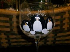 Hand+Painted+Penguin+Wine+Glasses,+set+of+4