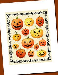 Halloween Jack O Lantern Pumpkins by TheCuriousKitchen on Etsy,