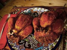 Roasted Cornish Hens with Chorizo Cornbread Stuffing from FoodNetwork.com