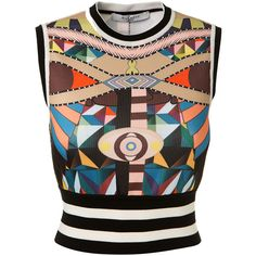Givenchy Multicolor Fantasy Pattern Crop Top (8.702.010 IDR) ❤ liked on Polyvore featuring tops, givenchy top, colorful tops, cut-out crop tops, print crop tops and collar top
