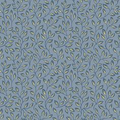 Apelkvist Wallpaper from the Apelviken Collection by Midbec Wallpapers is a wonderful modern blue leaf wallpaper with silver-gold detailing.