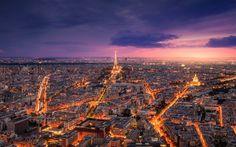 Télécharger fonds d'écran le soir, la Tour Eiffel, Paris, les lumières de la ville, France