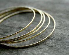 Brass Bangle Bracelet, Hammered Brass Bangle, Bangle Set, Brass Jewelry, Hammered Metal Bracelet, Stackable Bracelet Set, Stacking Bangles