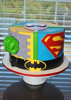 super hero and soccer cakes.The Best Superhero Birthday Cake Superhero Cake, Superhero Birthday Party, 21st Birthday, Birthday Ideas, Birthday Cakes, Avengers Birthday, Sweet Cakes, Cute Cakes, Decoration Buffet