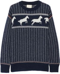 Band of Outsiders Fair Isle Horses cotton-blend sweater