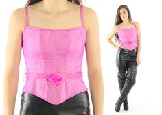 $46, Vintage 90s Corset Top Lillie Rubin Pink Bustier Sleeveless Blouse Rose Belt 1990s Small S XS Crop Top by ScarletFury on Etsy