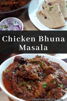 Chicken bhuna masala with step by step photos & a recipe video. Chicken coated in yummy bhuna onion-tomato masala. Serve bhuna chicken hot with Roti/Naan. Indian Chicken Masala, Indian Chicken Dishes, Chicken Dishes For Dinner, Indian Chicken Recipes, Indian Food Recipes, Indian Dishes, Indian Foods, Indian Curry, Indian Snacks