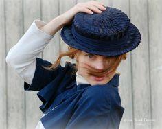 Vintage 1940's Navy Blue Straw Boater Hat by Laddie Northridge