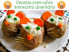 Recetas para niños ¡de ratoncitos divertidos! Recetas para niños ¡de ratoncitos divertidos! Recetas divertidas para niños con forma de ratones: patatas rellenas, huevos duros ratones, ratones de fresa y queso...