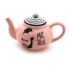 Handmade earthenware teapot with the image of Mr Tea on a glossy pink background-great gift for a tea drinker! This teapot is created from earthenware clay, kil