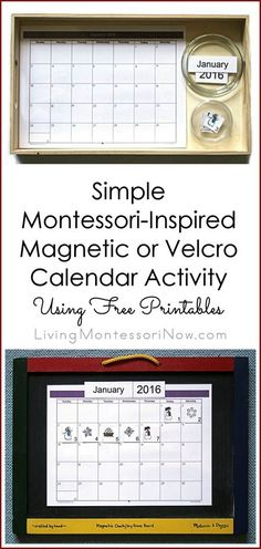 This magnetic or Velcro calendar activity is inexpensive, simple to prepare, and adaptable for a variety of ages. Post also contains many other Montessori-inspired months and seasons activities. Montessori Practical Life, Montessori Preschool, Montessori Education, Montessori Materials, Montessori Elementary, Seasons Activities, Math Activities For Kids, Calendar Activities, Calendar Skills