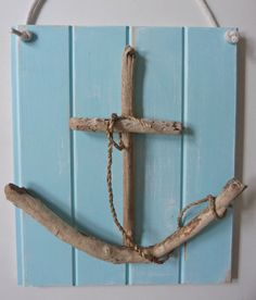 rustic nautical driftwood anchor wall art - shabby chic beach cottage - home decor - beach shack wall art