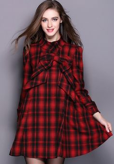 Red Plaid Print Bow Band Collar Wool Coat LOVE THE PLAID!!