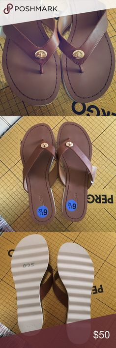 Coach Shelly leather flip flops Brand new really comfortable Shelly leather straps Coach slippers size 6 1/2. Coach Shoes Slippers