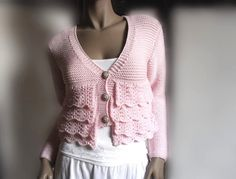 Lace Ruffle  Soft Pink Cardigan Sweater Romantic  Merino Extrafine or cotton Choose the Color