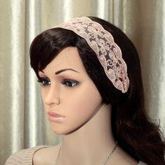 Peach Floral Lace Headband