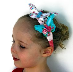 Items similar to Happy Butterfly Headband for little girls on Etsy Fabric Butterfly, Barrettes, Girls Accessories, Etsy Store, Headbands, Little Girls, Hand Painted, Face, Happy