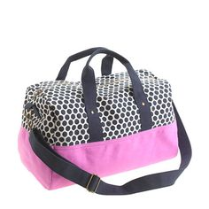 Girls' canvas overnight bag in dot | Crewcuts