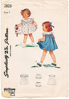 Vintage Pattern Simplicity 2823 Child's Dress and Panties 40s Size 1. $6.00, via Etsy.