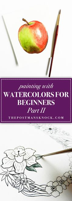 Painting with Watercolors for Beginners Part II – Painting ideas Watercolor Painting Techniques, Painting Lessons, Watercolour Painting, Art Lessons, Painting & Drawing, Abstract Paintings, Indian Paintings, Abstract Oil, Painting Tips