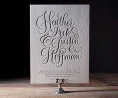 Simple Charms Letterpress Wedding Invitations