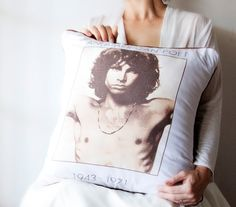 Jim Morrison The Doors Vintage Graphic T-Shirt turns Designer Luxury Pillow. $85.00