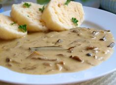 Houbová omáčka s knedlíkem Since the season is mushroom and there are photos with mushrooms on every page, I have … Slovak Recipes, Czech Recipes, Hungarian Recipes, Russian Recipes, No Salt Recipes, Veggie Recipes, Cooking Recipes, Potato Toppings, Food 52