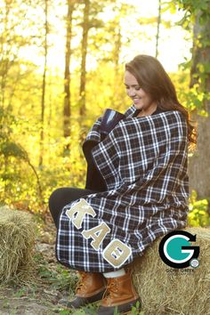 CUSTOM Premium Plaid Stitched Letter Blanket by GoneGreek on Etsy