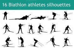 16 biathlon athletes silhouettes. Sport Icons. $4.00