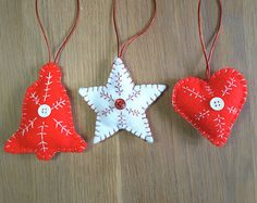 Set of 3 felt Christmas tree decorations