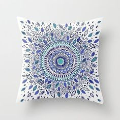 Decorative Arts Indigo Flowered Mandala Pillowcase New De...