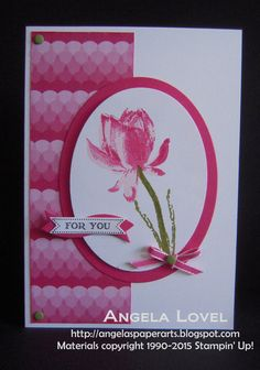 Card made using Stampin' Up's! Sale-A-Bration Lotus Blossom stamp set available for free during Sale-A-Bration till 31 March 2015 on eligible purchases from my online store http://www.angelaspaperarts.stampinup.net/ Also features the Sweet Taffy Designer Series Paper: http://www3.stampinup.com/ECWeb/ProductDetails.aspx?productID=133693&dbwsdemoid=4011749 #angelaspaperarts