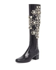 Studded Leather Knee Boot, Noir by Saint Laurent at Neiman Marcus.PRE-ORDER ONLY