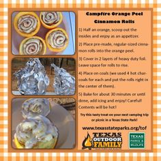 Campfire orange peel cinnamon rolls - a favorite with our Texas Outdoor Family campers. The oranges make it healthy, right? Campfire Cinnamon Rolls, Coal Uses, Camping Meals, Camping Recipes, Fish Camp, Orange Peel, Outdoor Cooking, Appetizers, Dinner