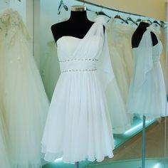 Custom 2014 Hot Cheap One-Shoulder Beaded Chiffon Knee-length Simple Short Prom Dresses short Evening Dress Simple Dress Homecoming Dresses$79.00