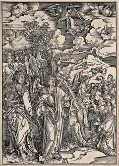 7. DURER, Albrecht (1471-1528) / The Apocalypse [series] #07 of 16 -- The Angels Restraining the Four Winds / 1496-98 / woodcut, durer-apocalypse-07