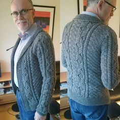 Knitted jacket for my dad. Loved it! Knit Jacket, My Dad, Dads, Men Sweater, Homemade, Knitting, Sweaters, Jackets, Fashion