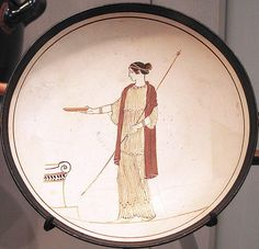 This finely painted drinking cup (kylix) depicts a goddess making an offering at an altar BC Paint And Drink, Greek Pottery, Black Figure, Picture Story, Historical Art, Dark Ages, Antiquities, Ancient Greece, Greek Mythology