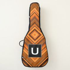Custom Initial  Brown & Orange Squares Pattern Guitar Case - diy cyo customize create your own personalize