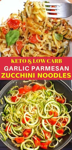 Learn how to make spiralized zucchini with garlic and parmesan that is so satisfying and delicious and makes an amazing keto dish! zucchini recipe Keto Garlic Parmesan Zucchini Noodles with Cheery Tomatoes Zucchini Noodle Recipes, Zucchini Noodles, Parmesan Noodles, Keto Noodles, Garlic Noodles, Low Carb Recipes, Cooking Recipes, Healthy Recipes, Salad