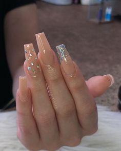 Ballerina Nägel charming acrylic nail designs to copy now 19 ~ thereds.me # acrylic nail design Acrylic Nails Coffin Glitter, Simple Acrylic Nails, Best Acrylic Nails, Coffin Nails Long, Nude Nails With Glitter, Acrylic Nail Designs Glitter, Glitter Acrylics, Glitter Nail Polish, Stiletto Nails