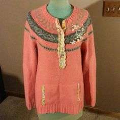 """Free People Sweater Orange sweater with button up front has a front pocket crochet and embroidery designs on front is 28""""long looser fit Free People Sweaters"""