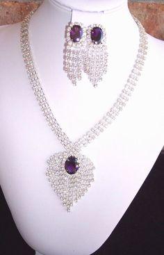 Purple Rhinestone Necklace Earring Set Silver Tone Choker Pierced Waterfall  #Unbranded