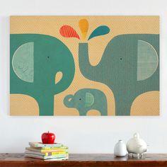 Unieke wanddecoratie voor de kinderkamer en babykamer met deze houten jumbo panelen met een illustratie van drie olifanten