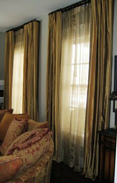 These gold panels have a subtle design to them, making them unique. Silk Drapes, Drapery, Curtains, Great Rooms, Window Treatments, Master Bedroom, Unique, Gold, Design