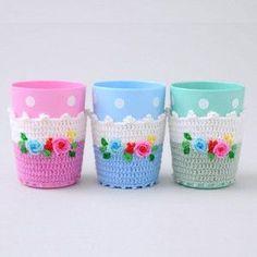 Cute crochet cup holders!