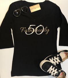 Custom Glitter Womens Fabulously Glam 50th Birthday 50 Shirt