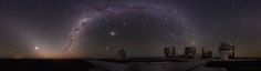 Wonder and Mystery above the Very Large Telescopes  Credit: Yuri Beletsky (ESO)     To start, on the far left is a diagonal band of light known as zodiacal light, sunlight reflected off of dust orbiting in the inner Solar System. The bright white spot on the left, just above the horizon, is Venus, which also glows by reflected sunlight. Rising diagonally from the ground to the right of Venus is the band of our Milky Way Galaxy... (http://apod.nasa.gov/apod/ap110509.html)