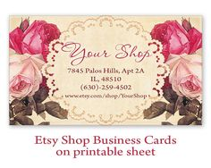 Shabby roses Business cards Digital Printable Personalized Pre-made business cards on Digital collage sheet made by FrezeArt